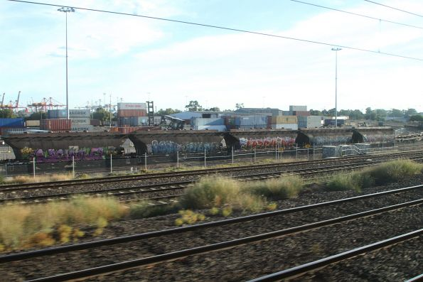 Five sugar wagons stabled outside the Manildra siding at North Dynon