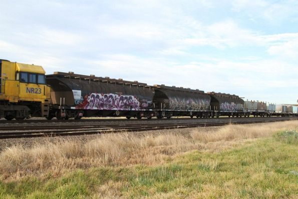 Three of four sugar wagons attached to the front of northbound MW2 steel train at Albion