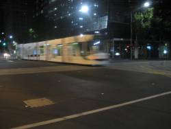 4:54 AM and the first tram of the morning