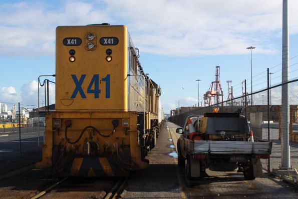 X41 stabled in the Patrick Wharf Siding at Appleton Dock with a loaded container train