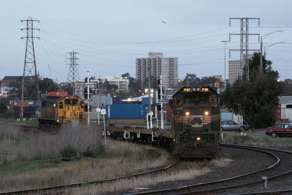 P22 leads X41 push pull at Sims Street Junction, with a wagon transfer from the Creek Sidings
