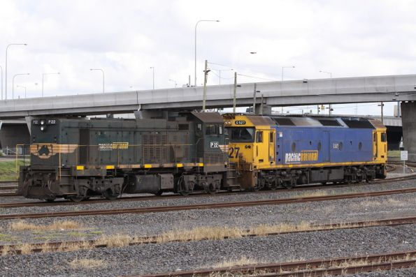 P22 and G527 stabled in the Appleton Dock sidings