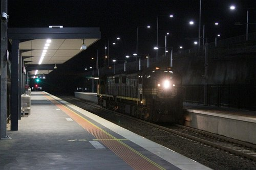X44 leads X41 through Wyndham Vale station on a Pacific National driver training run from Sunshine to Little River