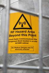 RF hazard warning sign on the GSM-R mast