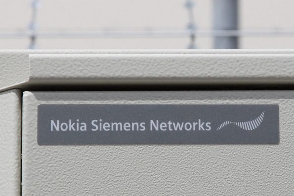 'Nokia Siemens Networks' badge on the GSM-R equipment cabinet