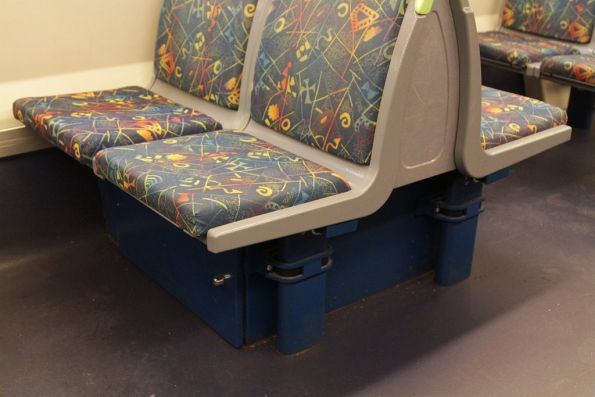 DTRS (digital radio) equipment box added beneath the seats of an X'Trapolis train