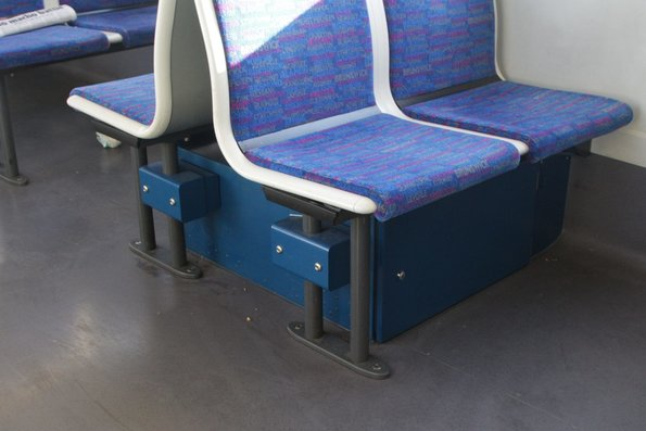 DTRS equipment cabinet beneath the seats of a Siemens M car