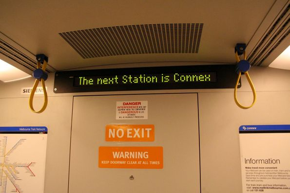 'The next Station is Connex' message on the PIDS onboard a Siemens train