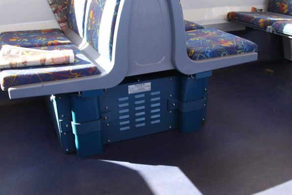 One of two boxes holding electronics beneath the seats in a 2nd series X'Trapolis M car