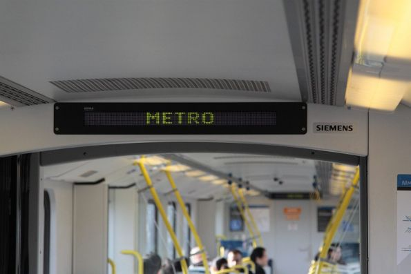 'METRO' on the internal PIDS of a Siemens train