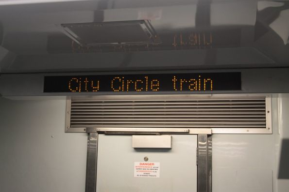 'City Circle train' on the internal PIDS of a Comeng train