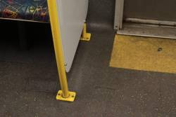 Connex-era patched up flooring of Comeng 541M, showing where the old seats and windbreaker used to be