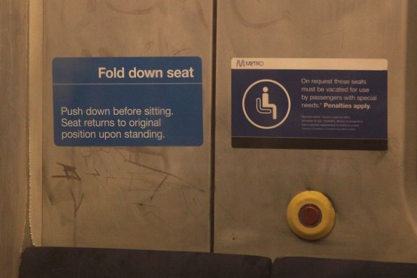 Stating the obvious! 'Fold down seat' notice onboard a Siemens train