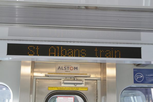'St Albans train' displayed onboard an Alstom Comeng train