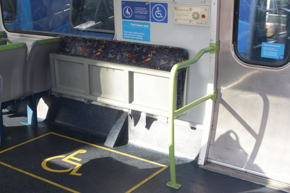 Redesigned wheelchair area onboard Alstom Comeng 654M