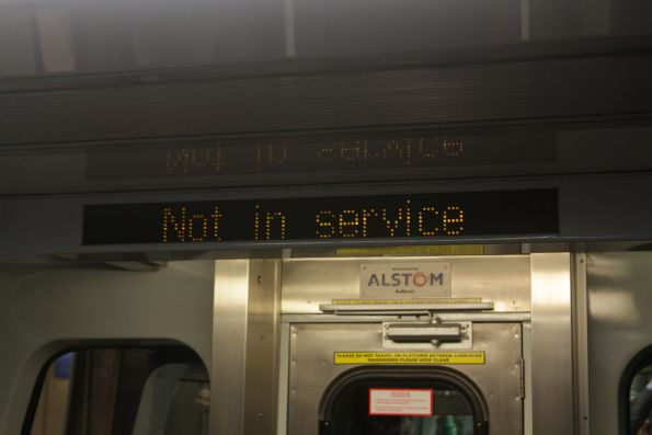 'Not in service' displayed onboard an in-service train