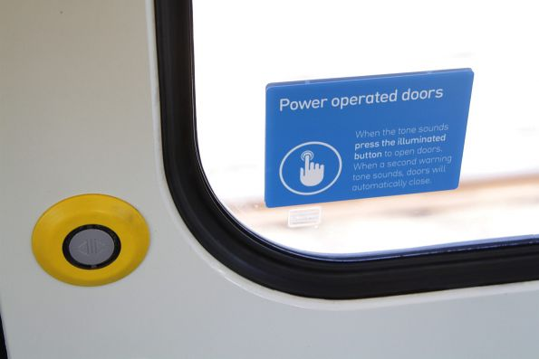 New font used for the 'power operated doors' sticker onboard a Siemens train