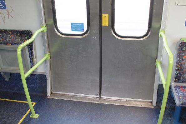 New style of door handles fitted to Alstom Comeng 653M