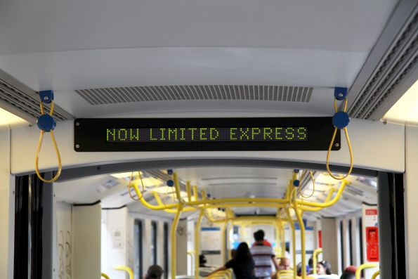 'Now limited express' message displayed onboard a Siemens train, departing Sunshine on an up Sunbury service