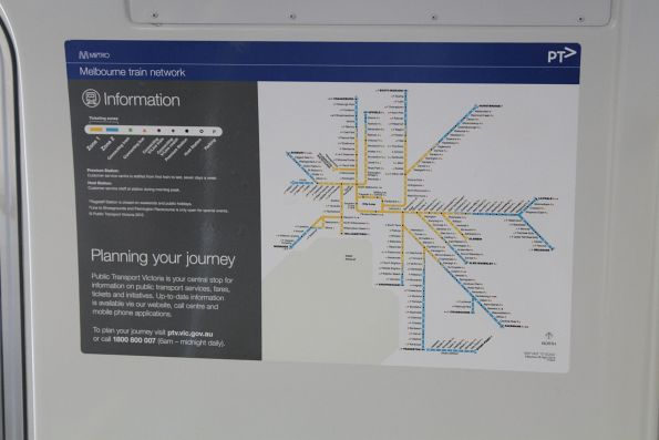 April 2013 version of the Melbourne train network map onboard a Comeng train