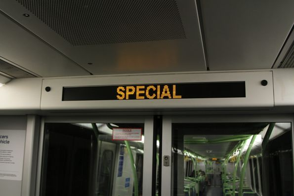 'Special' displayed on the next station display onboard an X'Trapolis train on a Burnley service