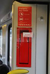 Emergency door release onboard a Siemens train