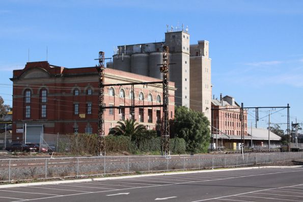 Former Albion substation in the foreground, the John Darling & Son Flour Mill behind