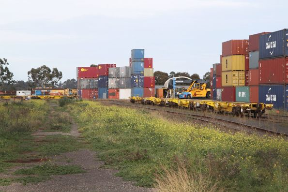 80 foot Qube container wagons stored in the former CRT depot at Altona North