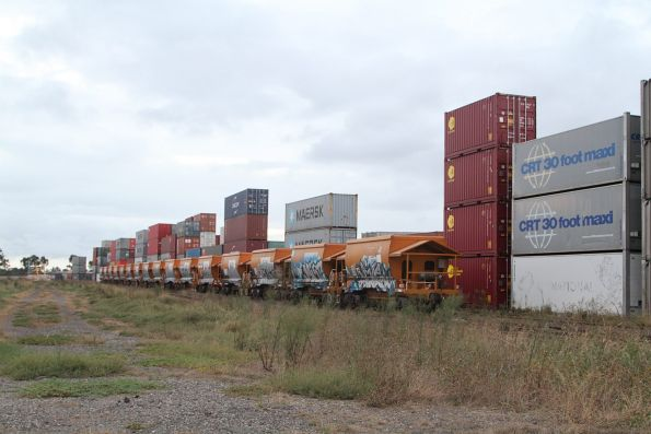 Standard gauge PHAY hopper wagons at the Qube depot in Altona North