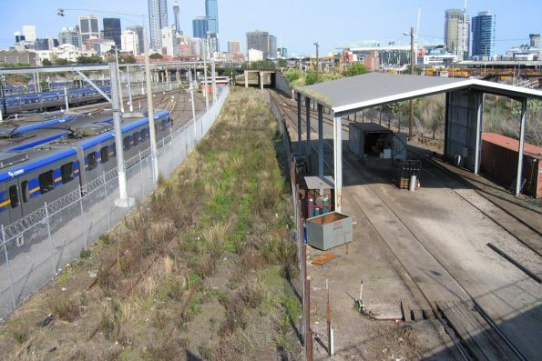 South end of the Creek Sidings, with the broad gauge connection to West Tower headed towards the North Melbourne Flyover