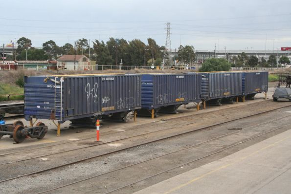 CFCLA containerised grain hoppers minus wagons at the Creek Sidings