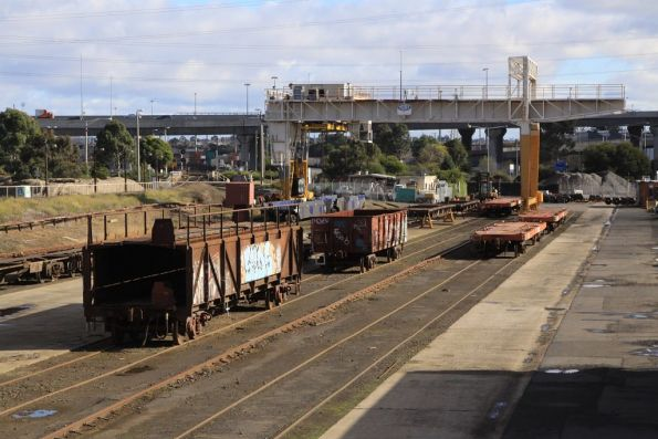 Mix of broad gauge wagons under repair at the Creek Sidings