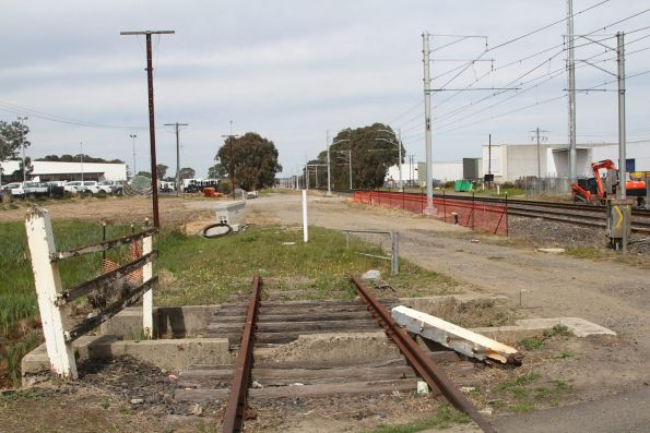 Remnant goods siding crosses Progress Street at Dandenong South