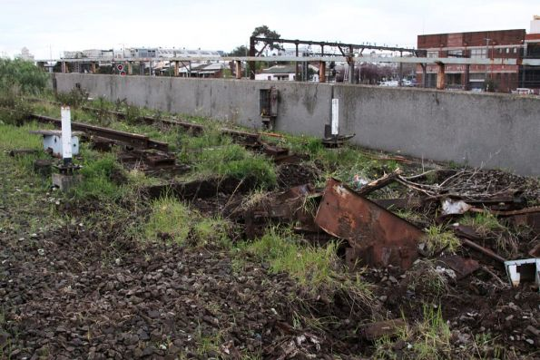 Rail and sleepers ripped up atop the hump crest