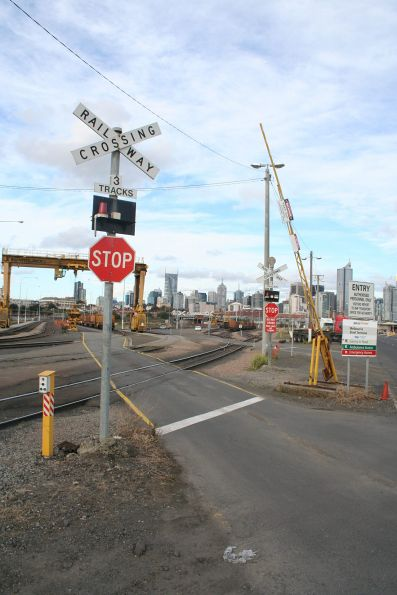 Level crossing at the entry to the Melbourne Steel Terminal