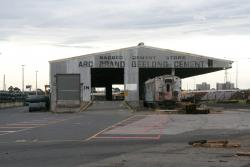 'Arc brand Geelong Cement' on the South Yard cement shed (now part of the Melbourne Steel Terminal)