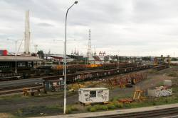 Stabled wagons in the middle of the Melbourne Steel Terminal