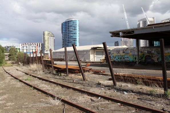 Former track connection from South Yard skirts what is now the Melbourne Steel Terminal, looking towards Victoria Dock