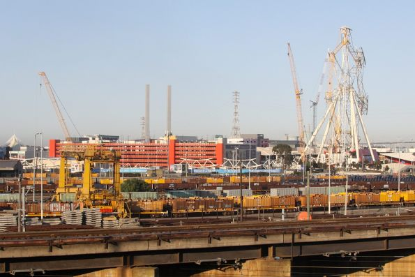 Looking over the Melbourne Steel Terminal, the ferris wheel is being rebuilt
