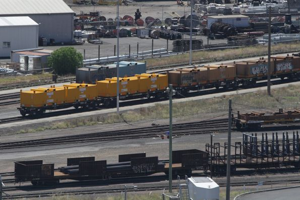 Standard gauge wagons stabled in the Melbourne Steel Terminal