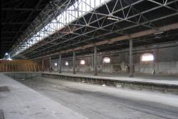 Recessed tracks in the middle of No. 2 goods shed