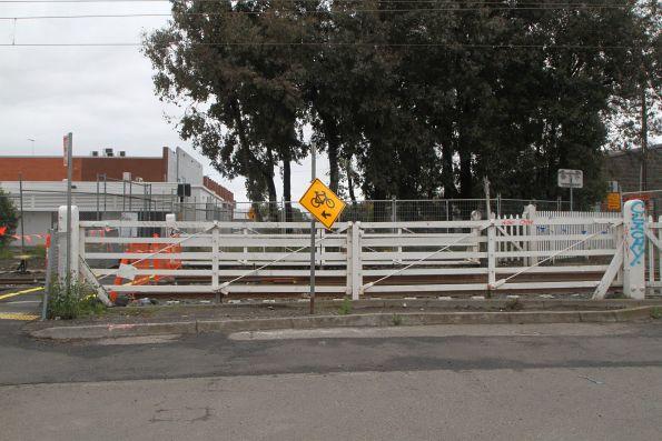 Preserved level crossing gates at Tinning Street in Brunswick