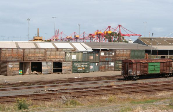 V/Line and Freight Australia branded FastTrack containers and louvred vans at North Dynon