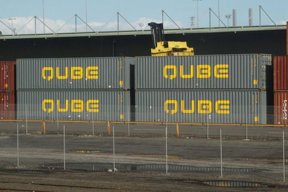 40 foot containers owned by Qube outside the former Australian Paper depot