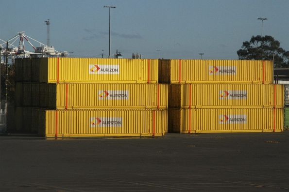 40 foot containers owned by Aurizon at the west end of the North Dynon container park