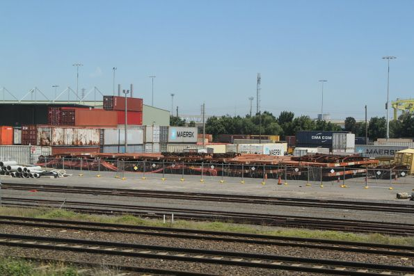AQPY container wagons stored minus bogies at North Dynon