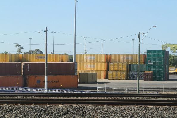 Stack of Aurizon containers at North Dynon