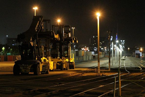 Reach stackers parked for the night at North Dynon
