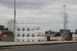 Qube / Boral cement tanktainers stacked in the North Dynon yard