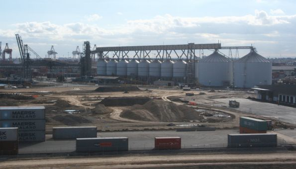 ABA export grain terminal from the Bolte Bridge. The piles of dirt are the old route of Moonee Ponds Creek, formerly emptied into Appleton Dock